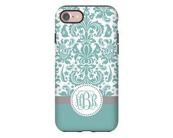 Damask iPhone 8 case, teal monogram iPhone 8 Plus case, iPhone X case, iPhone 7/7Plus case, iPhone 6s Plus, iPhone 6s, iPhone 6 Plus case