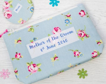 Mother of the Groom Make Up Bag and Pocket Mirror - Cosmetic bag - wedding gift - personalised make up bag - pocket mirror