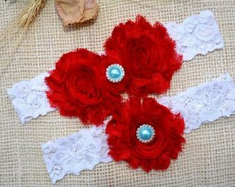 Wedding Garter Red, White Garter Set, Red Bridal Clothing, Garter For Wedding, Garter For Brides, Lace Garter Red,Garters, White Keep Garter