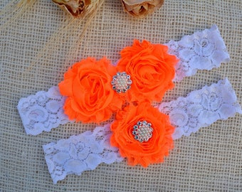 Orange Garter Set, Neon Orange Garter, Bridal Clothing, Lace Garter, Garter For Women, Romantic Garter, Lace Garter Set, Orange Keep Garter
