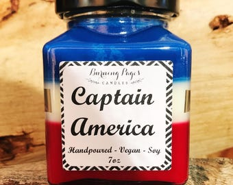 Captain America Inspired Candle