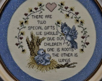Finished Framed Cross Stitch Children Wings Roots