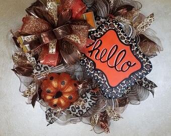 Fall/Autumn Wreath, Fall Decor, Hello Wreath, Front Door Wreath