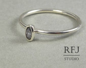Oval Lavender CZ Diamond Silver Ring, Oval Cut Simulant Lavender Diamond Ring, Oval Lavender Cubic Zirconia Ring Stacking Thin Lavender Ring