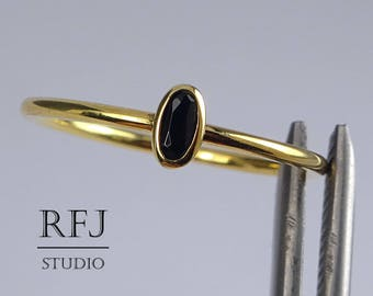 Gold Plated Oval Synthetic Onyx Silver Ring, Oval Black Onyx 14K Yellow Gold Plated Ring, Stacking Dainty Gold Plated Black Gemstone Ring