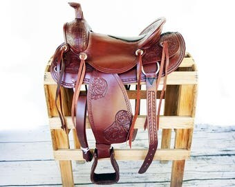 "16"" Handmade Western Rodeo Show Horse Trail Tooled leather  Saddle"