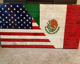 Rustic Wooden Mexican American Flag