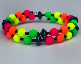 Black and Neon Pink, Orange, Yellow and Green Czech Glass and Hematite Festival Memory Wire Bracelet