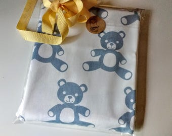 fabric remnant Home Decor Blue  Premier Print Teddy Bear   1 yard