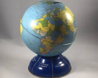 Vintage Tin Globe Bank