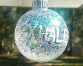 Nontraditional 2in Xmas ornament, original handpainted and made