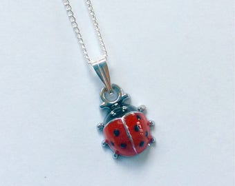 Ladybird necklace on silver plated chain, minature ladybug necklace, ladybird jewellery