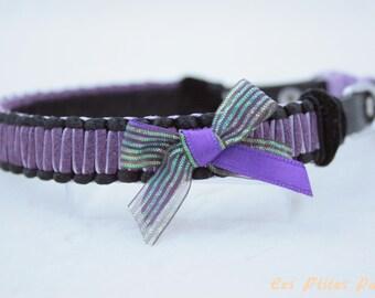 Braided dog collar Le Classique black and purple
