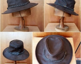 Scippis Commy Bushman Mens Buffalo Soft Leather Country Western Cowboy Brown Hat
