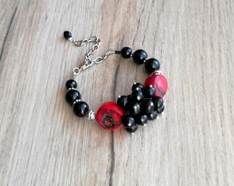 Black Agate Bracelet, Coral Gemstones  Bracelet, Birthday Gift, Black bracelet, Agate  jewelry, Coral jewelry