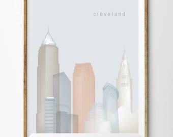 Cleveland, Printable Cleveland Skyline Cleveland Wall Art (#P512)