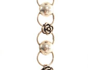 Sterling Silver Oxidised Linked Ball & Rose Bracelet