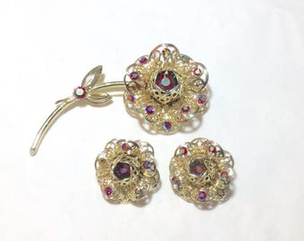 Vintage Sarah Coventry Rhinestone Flower Pin and Earrings