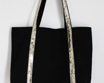 Large gold glitter band and black cotton tote bag