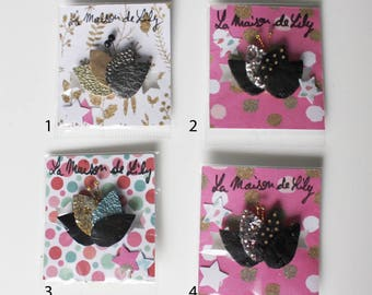 FAUX leather LOTUS brooch