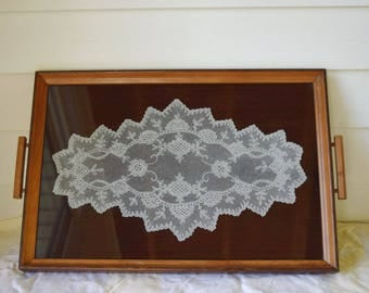 Vintage Tray Wood Glass lace Covered Rectangular