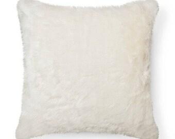 White Faux Fur Throw Pillow Cover