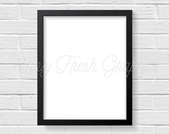 Frame Mockup - Black Picture Frame - White Brick Wall - 16x20 Frame - Social Media Photo - Photoshop PSD - Instant Download - Commercial Use