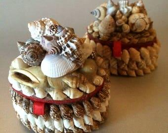 Handmade Vintage Seashell Box One-of-a-Kind Shell Box Unique Gift Encrusted Shell Box Ivory Bone Brown Gold Treasure Box Wedding Ring Nassas