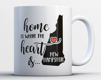 New Hampshire Coffee Mug-Heart Is In New Hampshire-New Hampshire State Gifts-Funny New Hampshire State Present-Best New Hampshire State Gift