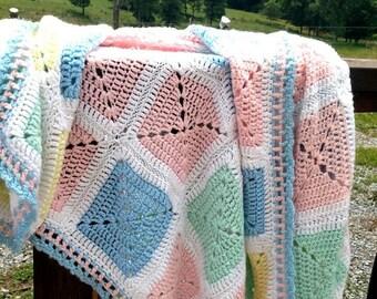 Crocheted Afghan,baby Afghan,baby blanket,vintage baby bedding,vintage Afghan,vintage bedding,vintage blanket,Afghan,baby bedding, bedding