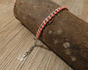Orange enamel heart chain bracelet