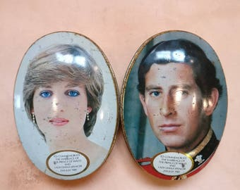 Vintage 1981 Charles and Diana commemorative tins.