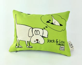 Decorative pillow / dog cushion / pillow animal pillow/Blue / high quality fabric / handmade/C9-02/Lestissuscroquis drawing