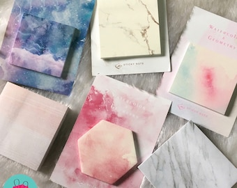 Sticky Notes, Post it notes, Sticky memos, Marble sticky notes, Memo pad, marble note pad, memos, to do list, watercolour sticky notes
