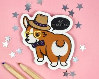 Brown Corgi Sticker | Corgi Gift | Corgi Vinyl Sticker | Die Cut Sticker | Hipster Sticker | Cute Sticker | Laptop Sticker | Kawaii Sticker