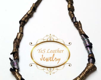 Leather necklace black-silver-gold