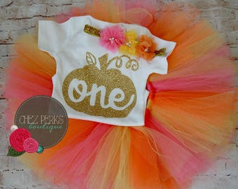 pumpkin first birthday outfit, 1st birthday girl , 1st birthday girl outfit , orange birthday outfit , birthday tutu , fall birthday outfit