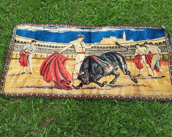 Vintage Matador Tapestry, 1970s Wall Hanging, Bull Fighting Spanish Decor, Retro Decor, Wall Decor