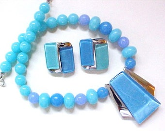 Kunio Matsumoto Earrings Necklace Set Trifari modernist aqua blue silver
