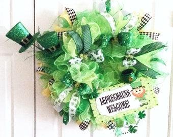 St Patricks Wreath / Leprechaun Wreath /  St Patricks Day Wreath / Irish Wreath / Green Wreath / Luck of the Irish / Wreaths for Front Door