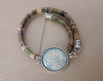 Wrap bracelet ethnic and cabochon 25 minutes