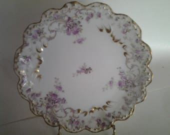 Pair French gilded floral plates