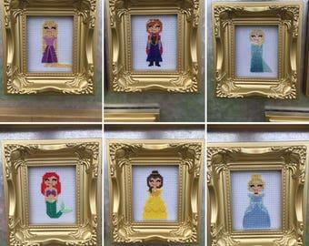 Princess cross stitch in frame or hoop