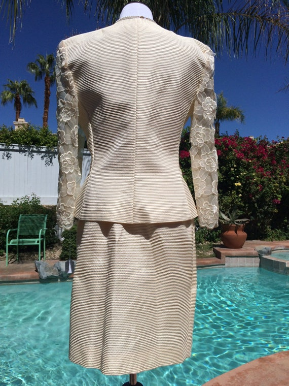 Victor Costa Vintage Ivory Dress Suit with Pearl and Diamante Buttons and Lace Sleeves,Size 10,Made in USA