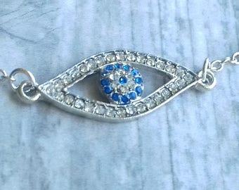 Evil Eye Bracelet | Silver Hamsa Bracelet Bangle Evil Eye Bracelet Hand of Fatima Boho Jewelry Jewellery Kabbalah Gift Silver Bangle