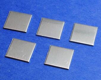 "Twenty - Five Small Aluminum 1/2"" Square Blanks - 1100 Soft Temper 18g Aluminum Pendant- Finished Stamping Blanks"