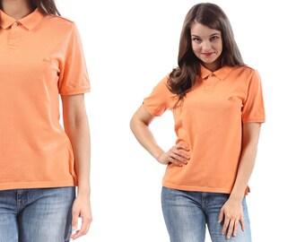 ADIDAS Polo Shirt 90s Vintage 3 Stripe Minimal Normcore T-Shirt Orange Cotton Tee Men Women Short Sleeve  Medium