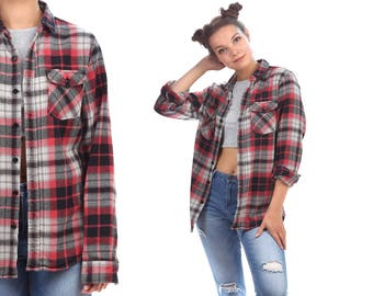 Plaid Shirt 80s Grunge Flannel Wine Red FADED Black White Button Down Distressed Vintage Long Sleeve Women Men Oversized Small to Medium