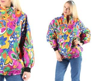 Rainbow Retro Ski Jacket Puffer Anorak Jacket 80s Floral Print Puffy Coat Winter Puff Insulated Drawstring Hipster Half Zip M to L