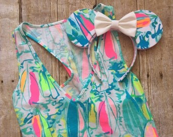 Disney Minnie Mickey Mouse Inspired Ears Lilly Fabric Bow Headband Beach and Bae Many Patterns Available!